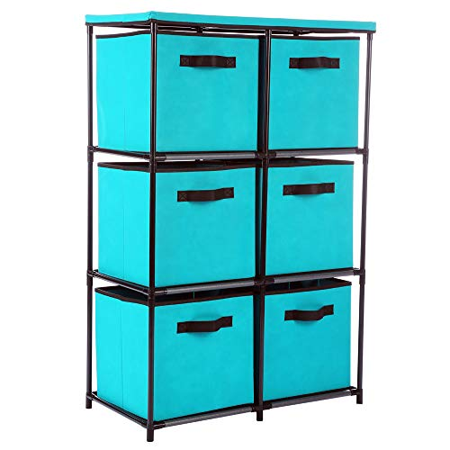 Home-Like 6-Drawer Storage Organizer Unit Fabric Chest Cabinet 3Tier Metal Shelves with 6 Non-Woven Collapsible Bins Ideal for Storing Clothing Underwear Jeans Documents Books (6 - Drawer Rubbermaid Organizer Shelf