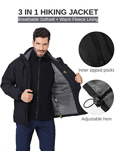 Mens 3 in 1 Winter Jacket Waterproof Ski Jacket Snow Coat Windproof Hooded with Detachable Liner