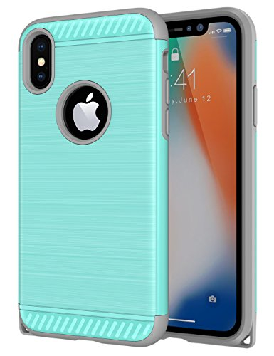 (iPhone X Case, CHTech Hard PC Soft TPU Dual Layer Shock-Absorption Armor Case Cover with Lanyard Hole Design for Apple iPhone X Mint)