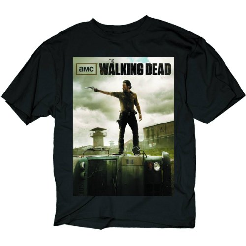 The Walking Dead Rick Shooting Poster Men's T-Shirt, Black, X-Large