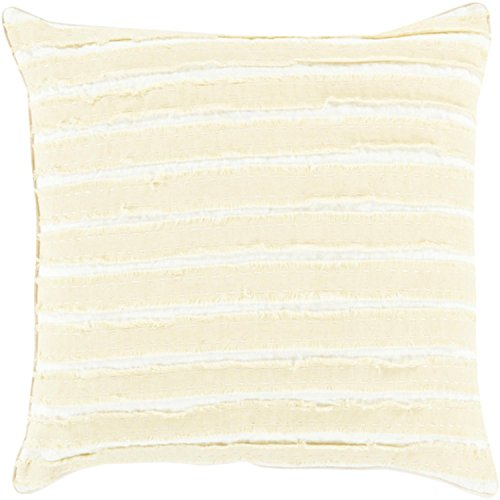 "18""Goose White and Sandy Yellow Striped Woven Decorative Throw Pillow-Down Filler by Diva At Home"