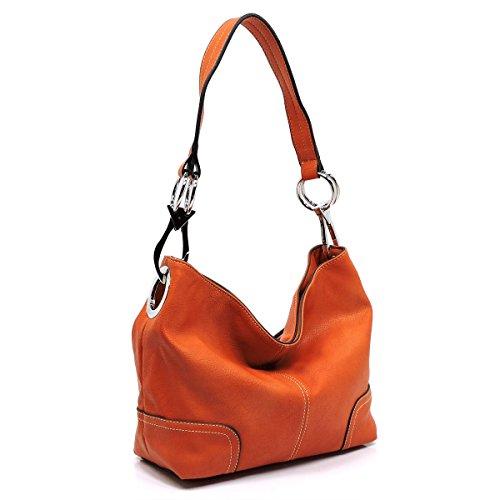 Americana Bucket Style Hobo Shoulder Bag with Big Snap Hook (Slouch Bag)