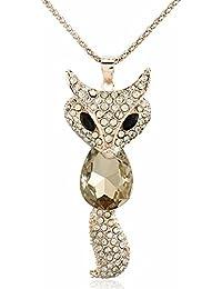 YARUIE Fox Champagne Gift Rhinestone Animals Pendant Long Chain Sweater Necklace