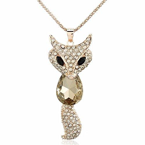 Animal Rhinestone Necklace (YARUIE Fox Champagne Gift Rhinestone Animals Pendant Long Chain Sweater Necklace)