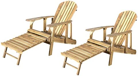 GDFStudio Halley Outdoor Reclining Wood Adirondack Chair