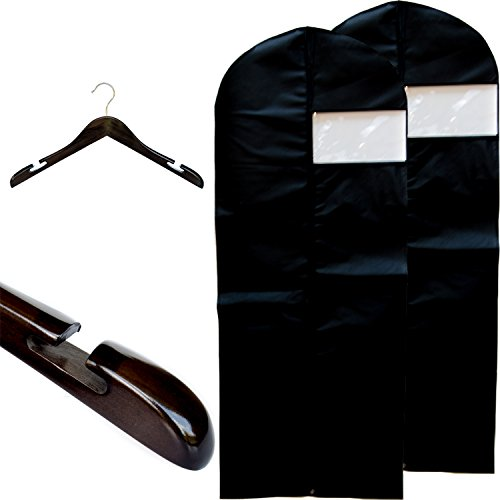 Clutter Mate  Luxury Wood Dress Hangers and Dress Cover Garm