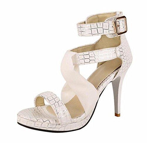 GLTER Mujeres Patrón de Piedra Alto-Tops Sandalias Fine Peep Toe Roman zapatos Bombas de tobillo beige