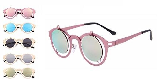 Retro Circle NYC Fashion Sunglasses (Pink Mirror & Pink, - Sunglasses Nyc
