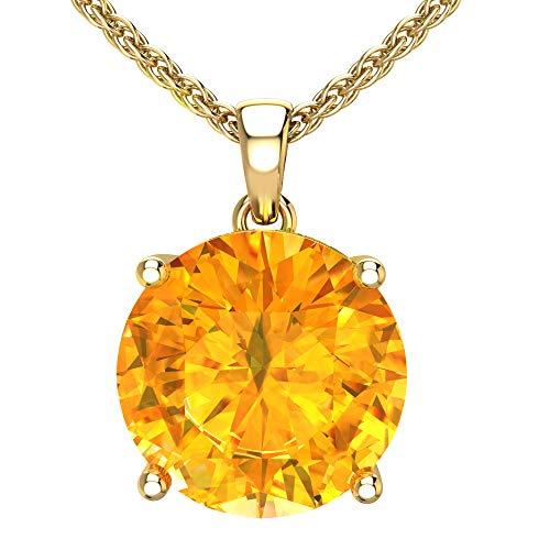 Belinda Jewelz 14k Rhodium Plated Yellow Gold Round Gemstone Sparkling Rope Chain Sterling Silver Birthstone Fine Jewelry Classic Womens Hang Pendant Necklace, 3.9 Carat Citrine, 18 Inch