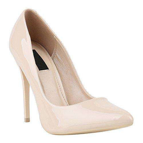Stiefelparadies Damen Pumps High Heels mit Stilettoabsatz Flandell Nude Lack