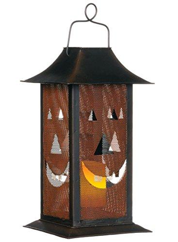 Happy Harvest Pumpkin 13 inch Metal Candle Holder Lantern Decoration (Cheap Metal Lanterns)