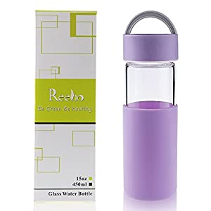 Reeho Borosilicate Glass Water Bottle With Non Slip Silicone Sleeve [BPA Free] (Lavender, 15oz)