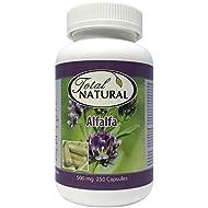 Natural Alfalfa Supplement 500mg 250 Capsules [1 Bottle] by Total Natural, Premium Wild Harvest Alfalfa Tablets for Regulating Cholesterol, Acid-Base Balance