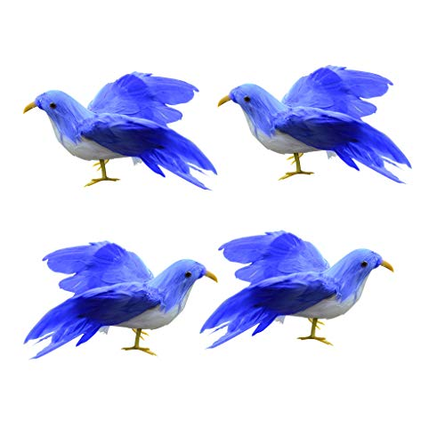 Fityle 4Pcs Bule American Realistic Birds Crows for Home, Halloween, Christmas Tree Decoration for $<!--$15.99-->