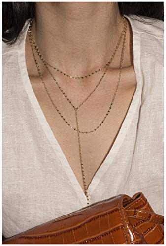 Sequin Gold Necklace - ACC PLANET Layered Necklace 14K Gold Plated Choker (Coffee Gold) Y Chain Sequins Long Chain Pendant Necklaces for Women