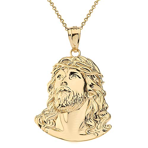Fashion 14k Yellow Gold Face of Christ, Jesus Pendant Necklace, 1.46