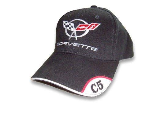 C5 Corvette Black Brushed Twill Hat with Brim Emblem ()