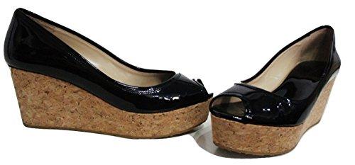 """Jimmy Choo """"Purdy brevet peep toe en cuir noir talon compensé chaussures Cour"""