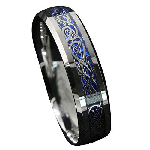 6mm Infinity Tungsten Carbide Wedding Band with Blue Silver Celtic Eternity Ring Size 8 - Tiffany Knot Ring