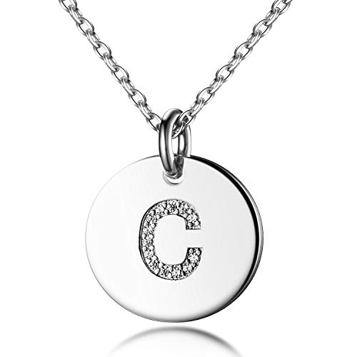 - Dainty Disc Initial Necklace S925 Sterling Silver Letters C Alphabet Pendant Necklace for Daughter