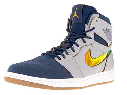 Nike Jordan Men's Air Jordan 1 Retro High Nouv Wlf Grey/Gld Lf/Frnch Bl/White Basketball Shoe 9 Men US