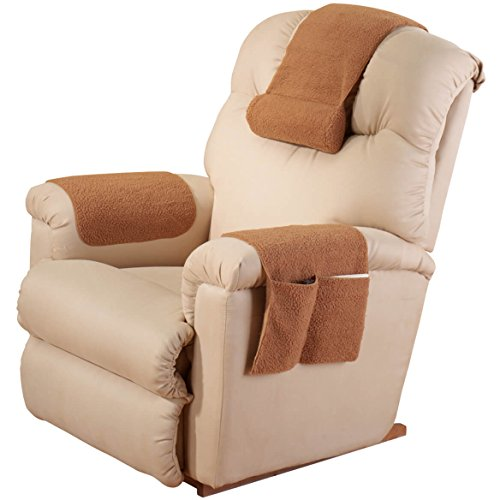 Recliner Headrest (EasyComforts Tan Sherpa Arm Rest Organizer by OakRidge Comforts)