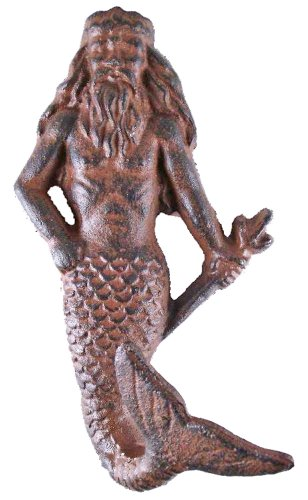 Moby Dick Nautical Rust Brown Cast Iron Neptune Wall Decor 6.5 Inch Hook Peg