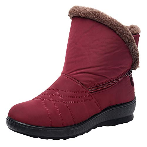Calfskin Suede Heels - Women Snow Boots,Sunyastor Winter Anti-Slip Ankle Booties Outdoor Slip On Warm Fur Lined Waterproof Cotton Snow Boots