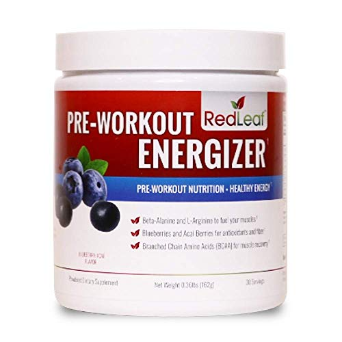 Red Leaf Pre-Workout Energizer Powder, Preworkout for Women and Men, BCAA's, Beta-Alanine, Amino Acids, Green Tea - 30 Servings (Blueberry Acai)