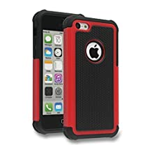 iPhone 5C Case,Lantier Hybrid Dual Layer Shockproof Armor Defender Protective Case Cover (Hard Plastic with Soft Silicon Inner) for Apple iPhone 5C Red