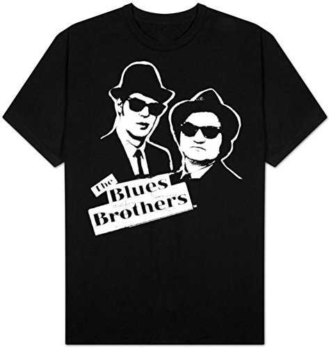 Blues Brothers Black and White Jake and Elwood Black T-Shirt Tee - Blues White Brothers Black And