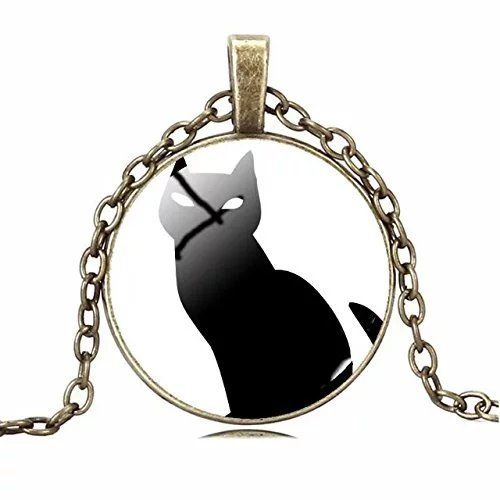 Cat pendant Halloween time restoring ancient ways diamond necklace