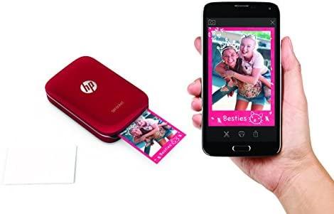 HP Sprocket - Impresora fotográfica portátil, color rojo + 3 packs de 20 hojas de papel fotográfico adhesivo