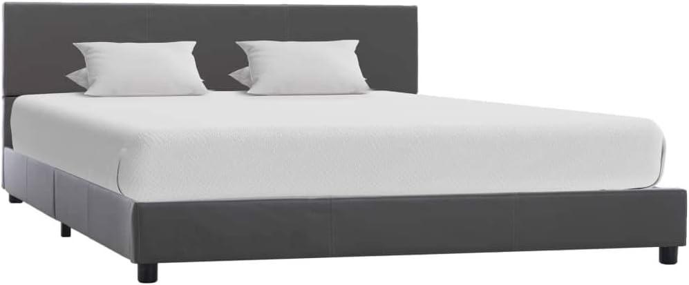 vidaXL Estructura de Cama de Cuero Sintético Mobiliario Somier Dormitorio Decoración Diseño Clásico Elegante Robusta Duradera Cómoda Gris 140x200cm