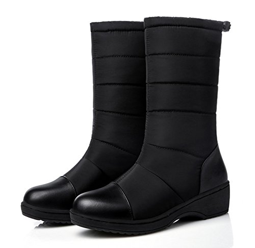 Snow Low Calf Shoes Heels Slip Round Warm Non Aisun On Wedge Platform Slip Women's Boots Dress Black Mid Toe zpw6nZq