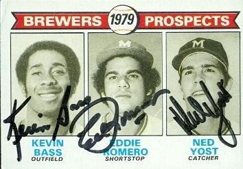 Ned Yost, Eddie Romero & Kevin Bass autographed Baseball ...