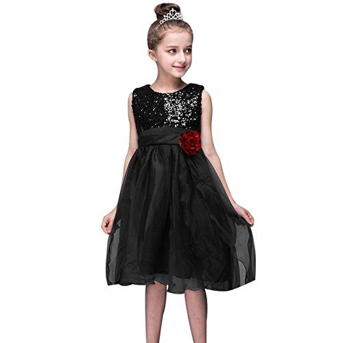 Freeheart Baby Girl Bling Sequins Sleeveless Tutu Princess Wedding Dress Clothes (Black, XL)