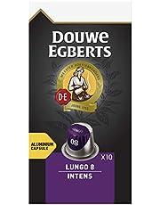 Douwe Egberts Koffiecups Lungo Intens (100 Capsules, Geschikt voor Nespresso* Koffiemachines, Intensiteit 08/12, Donker Gebrande Koffie, UTZ Gecertificeerd), 10 x 10 Cups