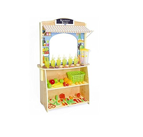 High Quality 4 In 1 Wooden Grocery Lemonade Stand Play Market Childs Toy