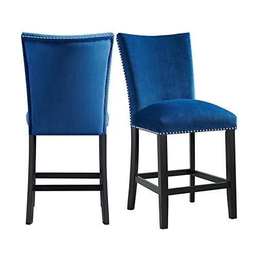 Picket House Furnishings Celine Blue Velvet Counter Height Chair Set (Skirted Stool)