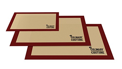 Silicone Baking Mat Set (3) Non-Stick Cookie Sheets - 2 Half Sheets and 1 Quarter Sheet - Baking Sheets For Bread...