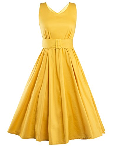 Vintage loves retro fifties inspired dresses buy polka dot dress YELLOW S (80 S Outfit)