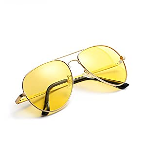 Mens Womens Night Vision Polarized HD Glasses for Driving/Shooting Yellow Lens Anti-glare Sunglasses Alleviate Eye Fatigue (gold/yellow)