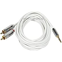 Monoprice 109301 10-Feet Stereo Male to RCA Stereo Male Gold Plated Cable for Mobile, White