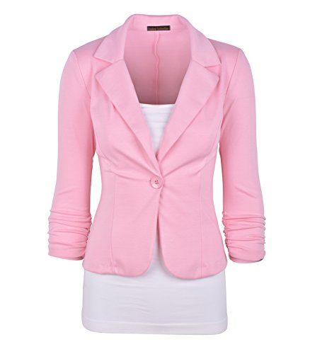 Auliné Collection Women's Casual Work Solid Color Knit Blazer Dusty Pink 1X -
