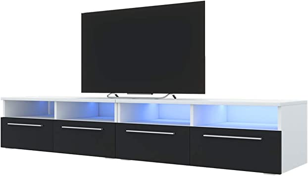 Selsey Gabinete RTV Phiris Double Blanco Mate/Negro Brillante LED: Amazon.es: Electrónica