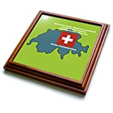 3dRose trv_47331_1 Map and Flag of Switzerland Swiss Confederation in English, German, French and Italian Trivet with Ceramic Tile, 8 by 8