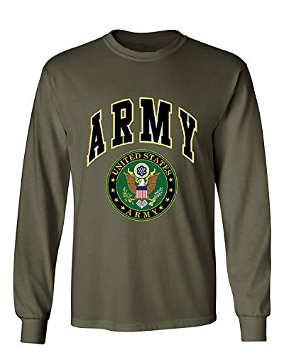 Army Green Apparel (US Army Long Sleeve T-Shirt Army Crest Patriotic Clothing, Military Green, S)