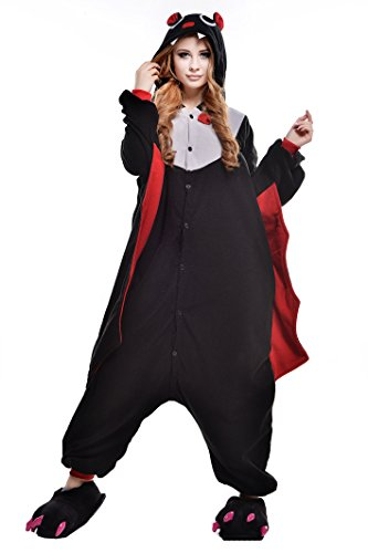 NEWCOSPLAY Unisex Adult One- Piece Cosplay Animal Pajamas Halloween Costume (S, Bat) ()