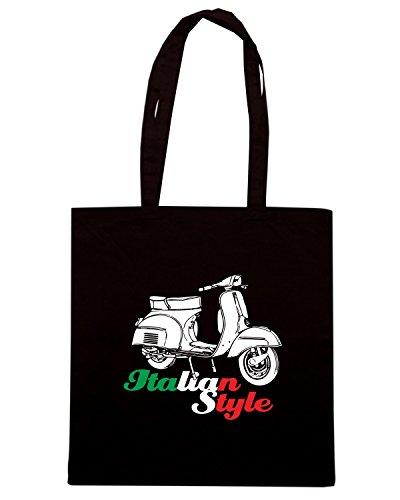 T-Shirtshock - Bolsa para la compra T0154 vespa italian style auto moto motori Negro